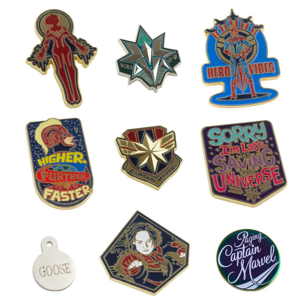 Captain Marvel Pin Badge Set