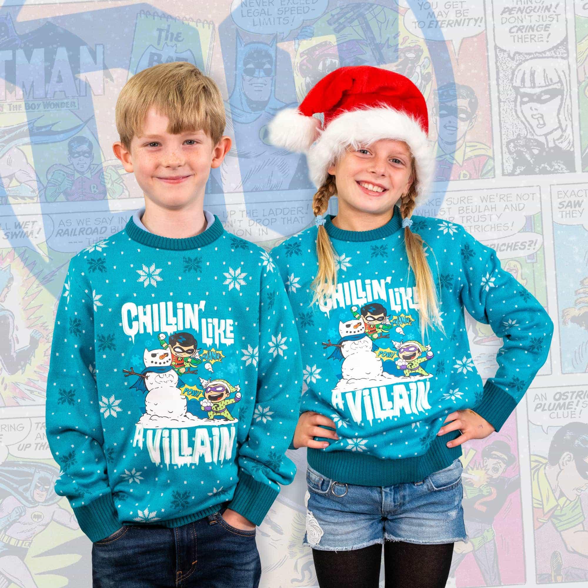 DC 'Chillin like a Villain' Kids Christmas Jumper / Ugly Sweater