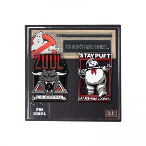 Pin Kings Ghostbusters Enamel Pin Badge Set 1.1 – Zuul & Marshmellow Man