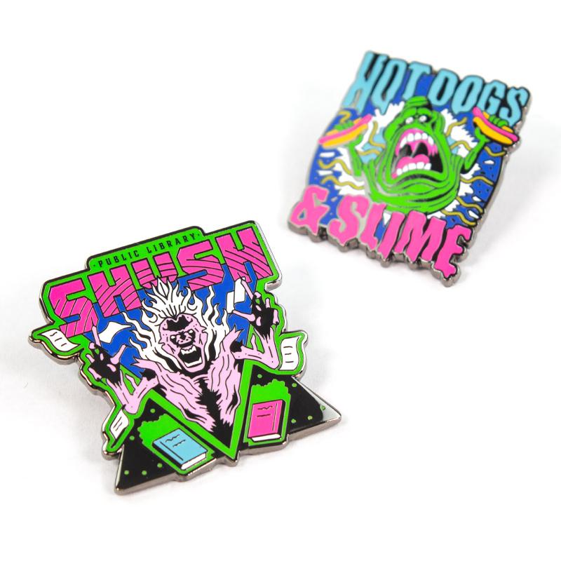 Pin Kings Ghostbusters Enamel Pin Badge Set 1.2 – Shush and Hotdogs & Slime