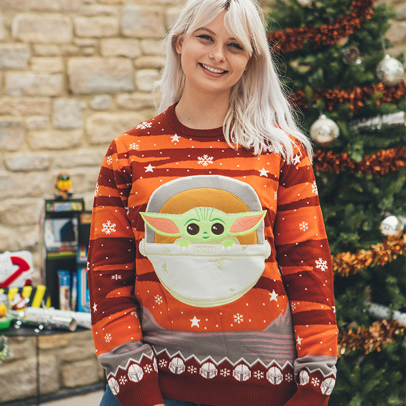 BNWT Star Wars The Mandalorian The Child Holiday Ugly Sweater Small Baby Yoda