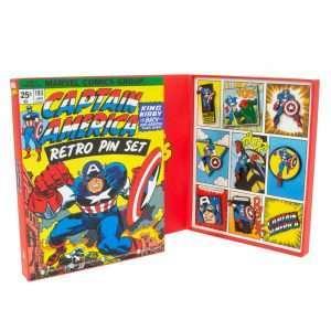 Avengers Captain America Retro Pin Badge Set