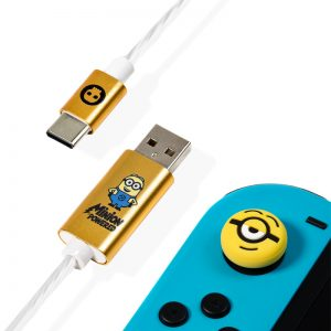 Official Minions USB C LED Charge Cable & Grips (Xbox Series X & Series S, PS5 and Nintendo Switch)