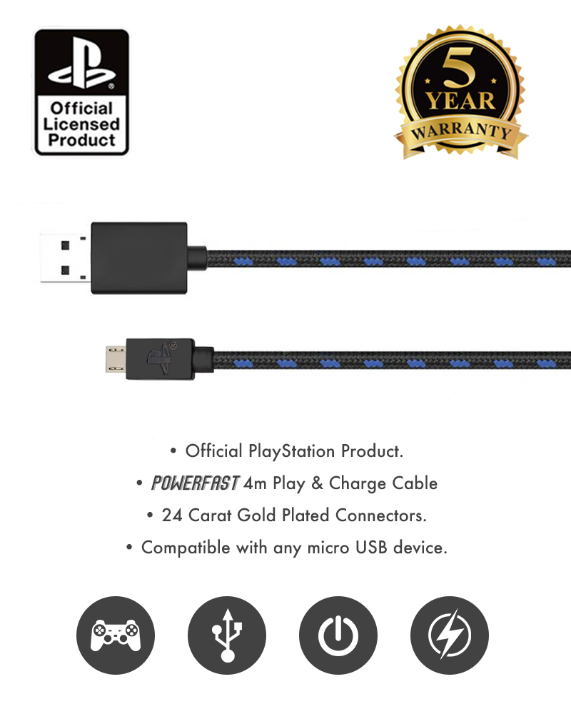 Official Sony PlayStation 4 / PS4 4m Play & Charge Cable