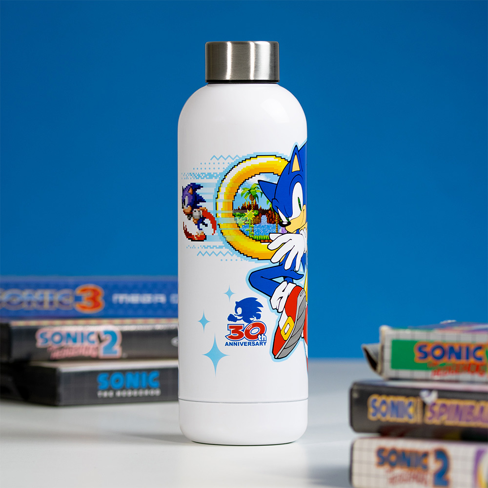 Official Sonic the Hedgehog 30th Anniversary White Bowling Pin Style Water Bottle