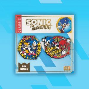 Pin Kings SEGA Sonic the Hedgehog Enamel Pin Badge Set 1.3 – 'Let's Roll' & Sonic Speed