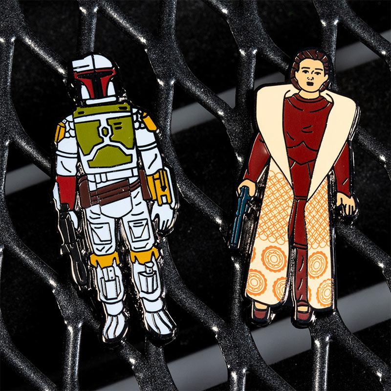 Pin Kings Star Wars Enamel Pin Badge Set 1.11– Boba Fett and Leia Organa (Bespin Gown)