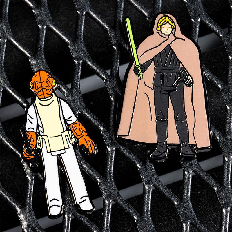 Pin Kings Star Wars Enamel Pin Badge Set 1.26 – Admiral Ackbar and Luke Skywalker (Jedi Knight Outfit)