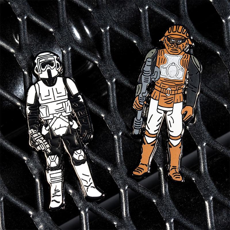 Pin Kings Star Wars Enamel Pin Badge Set 1.33 – Biker Scout and Lando Calrissian (Skiff Guard Disguise)