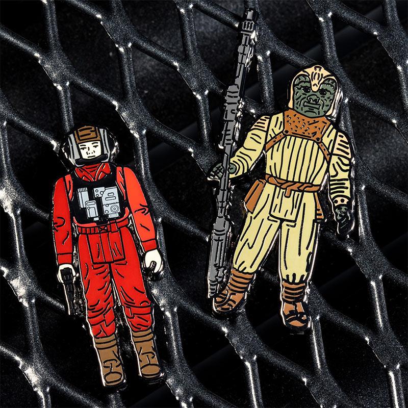 Pin Kings Star Wars Enamel Pin Badge Set 1.37 – B-Wing Pilot and Klaatu (in Skiff Guard Outfit)
