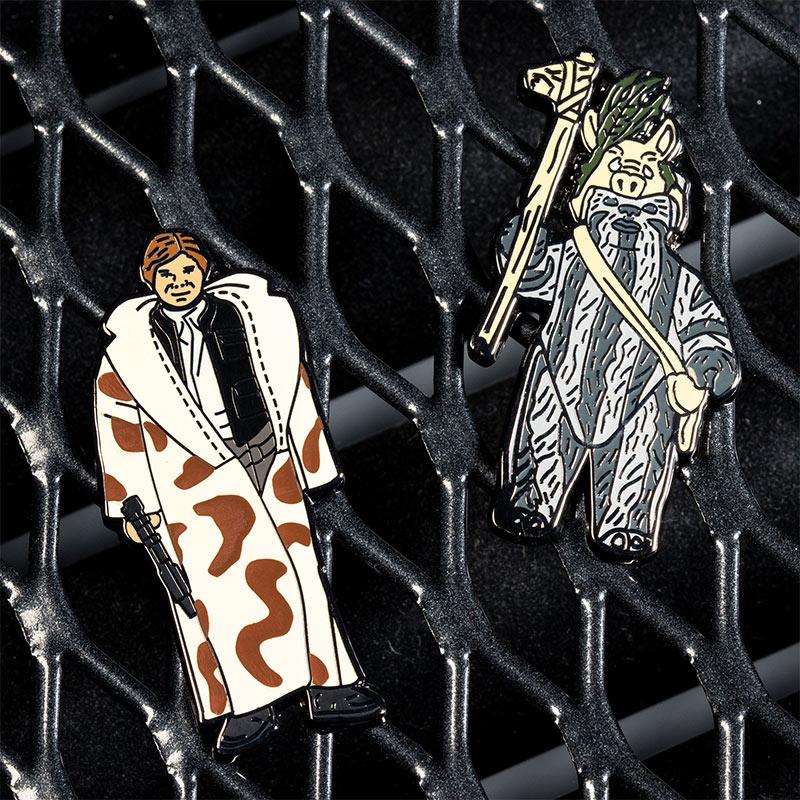 Pin Kings Star Wars Enamel Pin Badge Set 1.38 – Han Solo (in Trench Coat) and Teebo