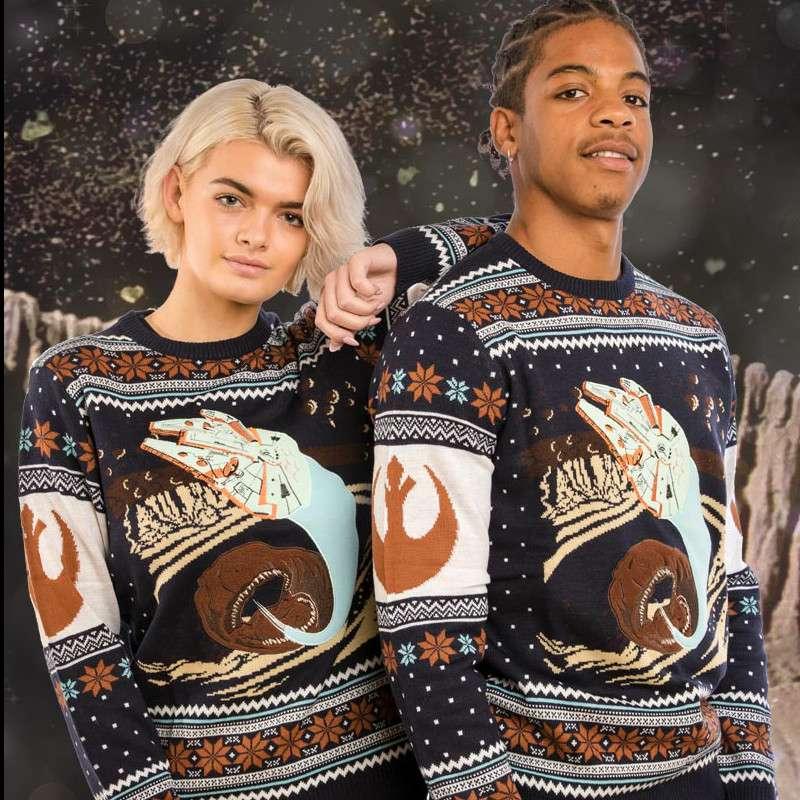 Star Wars Millennium Falcon Space Slug Escape Christmas Jumper / Ugly Sweater