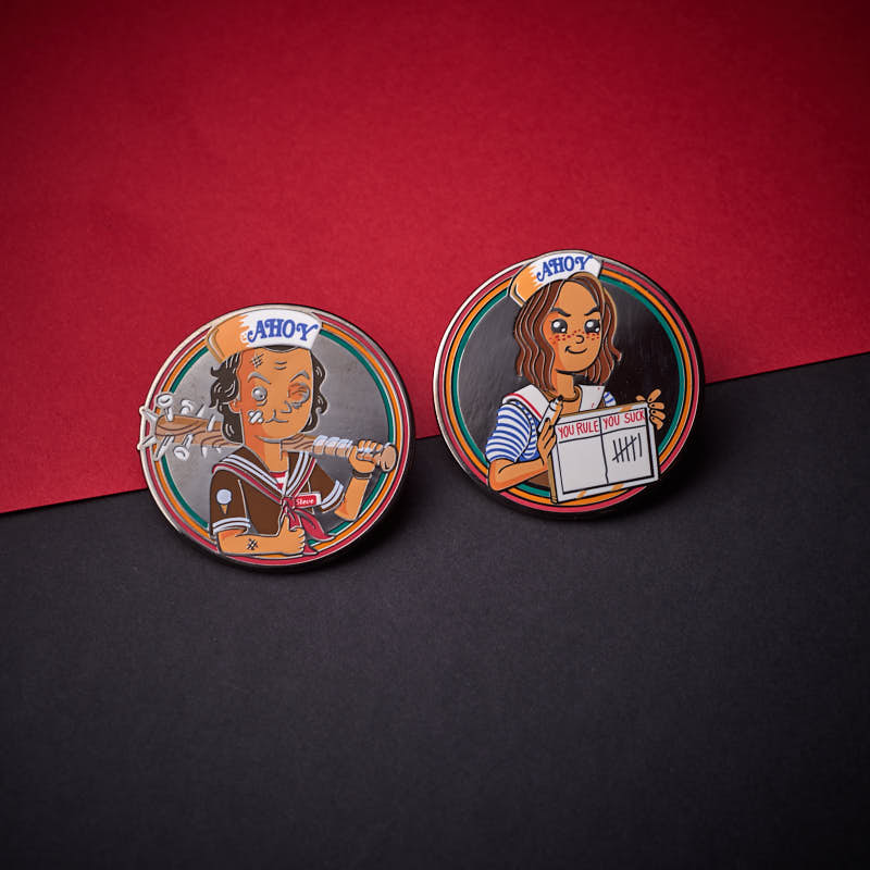 Pin Kings Stranger Things Enamel Pin Badge Set 1.3 – Steve and Robin
