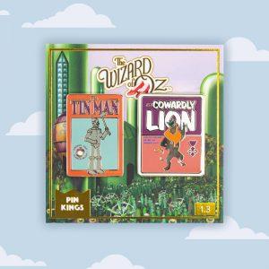 Pin Kings Wizard of Oz Enamel Pin Badge Set 1.3 – Tin Man & Cowardly Lion