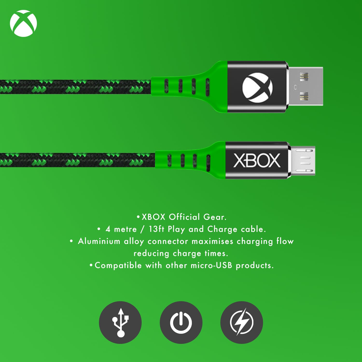 Xbox Play and Charge Micro USB Charging Cable