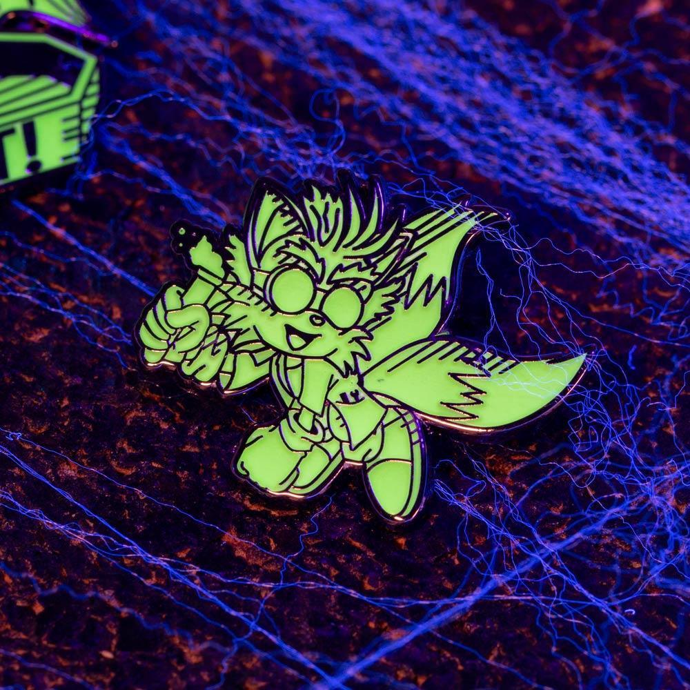 Modern Sonic the Hedgehog Glow in the Dark Halloween Sonic & Tails Enamel Pin Badge Set 1.1